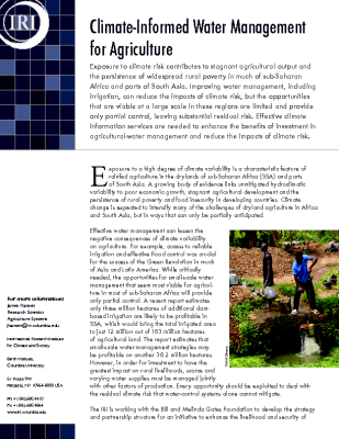 Climate Informed Water Management for Agriculture