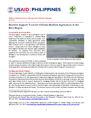 Decision Support Tools for Climate Resilient Agriculture in the Bicol Region