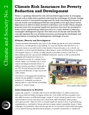 Index Insurance for Climate Risk Management and Poverty Reduction