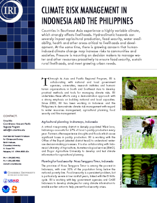 Climate Risk Management in Indonesia and the Phillipines