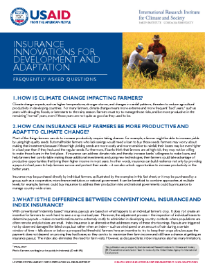 Insurance Innovations for Development and Adaptation – FAQs
