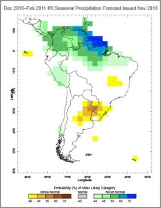 The government of Uruguay used this map and others like it as inputs for policy decisions, including the declaration of a State of Emergency, based on forecast of continuing drought conditions in winter of 2010.