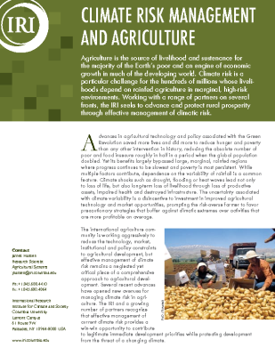 Climate Risk Management and Agriculture