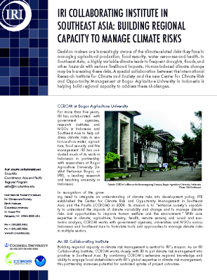 Southeaast Asia: Building Regional Capacity to Manage Climate Risks
