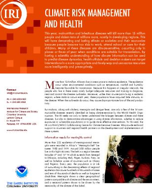 Climate Risk Management and Health