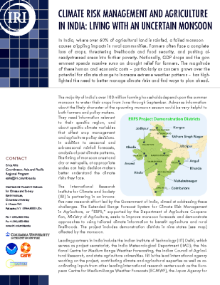 Climate Risk Management and Agriculture in India: Living with an Uncertain Monsoon