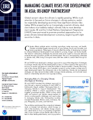 Managing Climate Risks for Development in Asia: IRI/UNDP Partnership