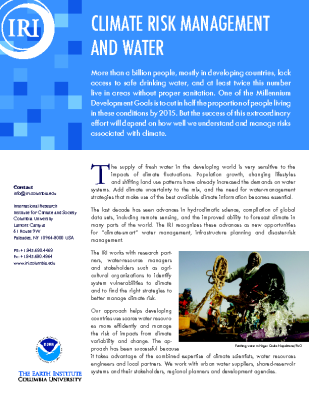 Climate Risk Management and Water