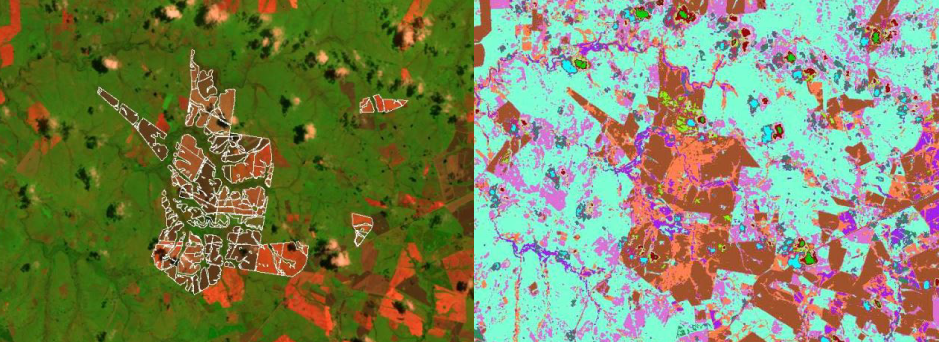 False color image scene (left) was captured from the Landsat 5 satellite in December 2009. An unsupervised classification technique was used to detect crop fields over the entire country of Uruguay. The image on the right is post-classification. Following classification, crop fields appear as shades of brown.