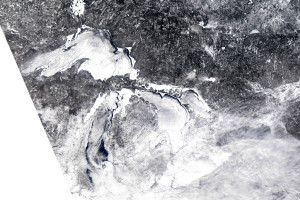 MODIS image of ice cover on Great Lakes. February 16, 2014. Credit: NOAA Great Lakes CoastWatch.