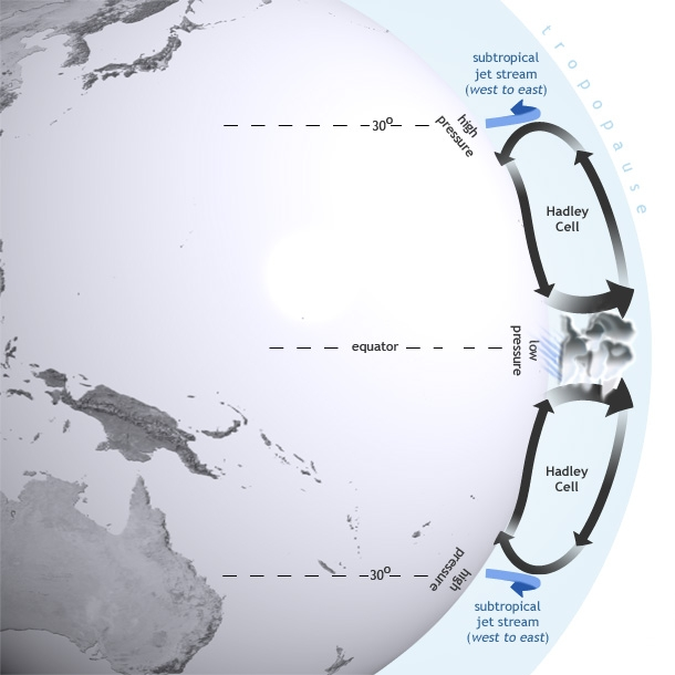 El Niño influences global atmospheric circulation by intensifying the Hadley circulation, in which heat is transferred from the Earth's surface to the upper atmosphere through convection and latent heating. Map by NOAA Climate.gov.