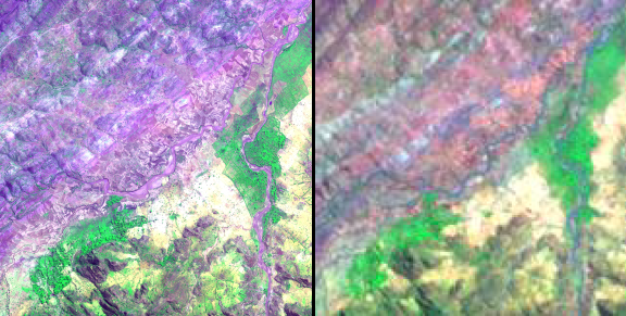 False color composites emphasize vegetation in bright green hues. Very high resolution image (left) from the GeoEye-1 commercial satellite and moderate resolution image (right) from NASA satellite Landsat TM were taken of Adi Ha village, Tigray, Ethiopia.