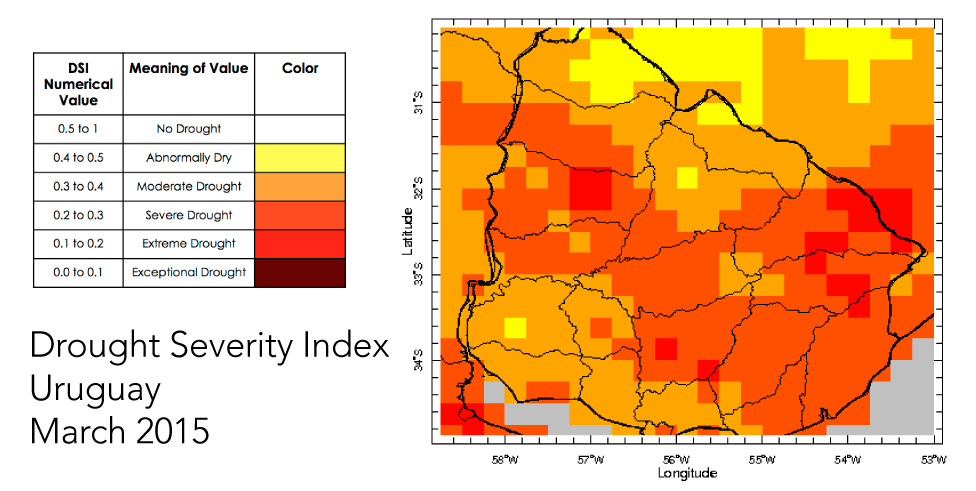 The Final Drought Severity Index Product Created For The Country Of Uruguay With Data From March 2015 Drought Conditions Are Indicated By Color
