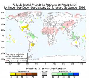 November-January Seasonal Forecast, Issued September 2016