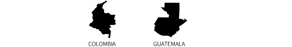 The black silhouettes of the countries of Colombia and Guatemala, along with the identifying text.