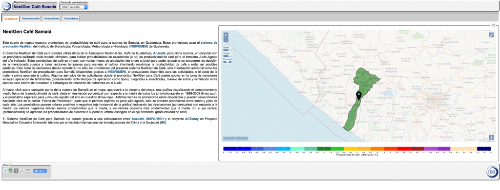 A screenshot of Anacafé's NextGen decision-support platform co-developed with ACToday and INSIVUMEH. The map shows a green-highlighted section of map.