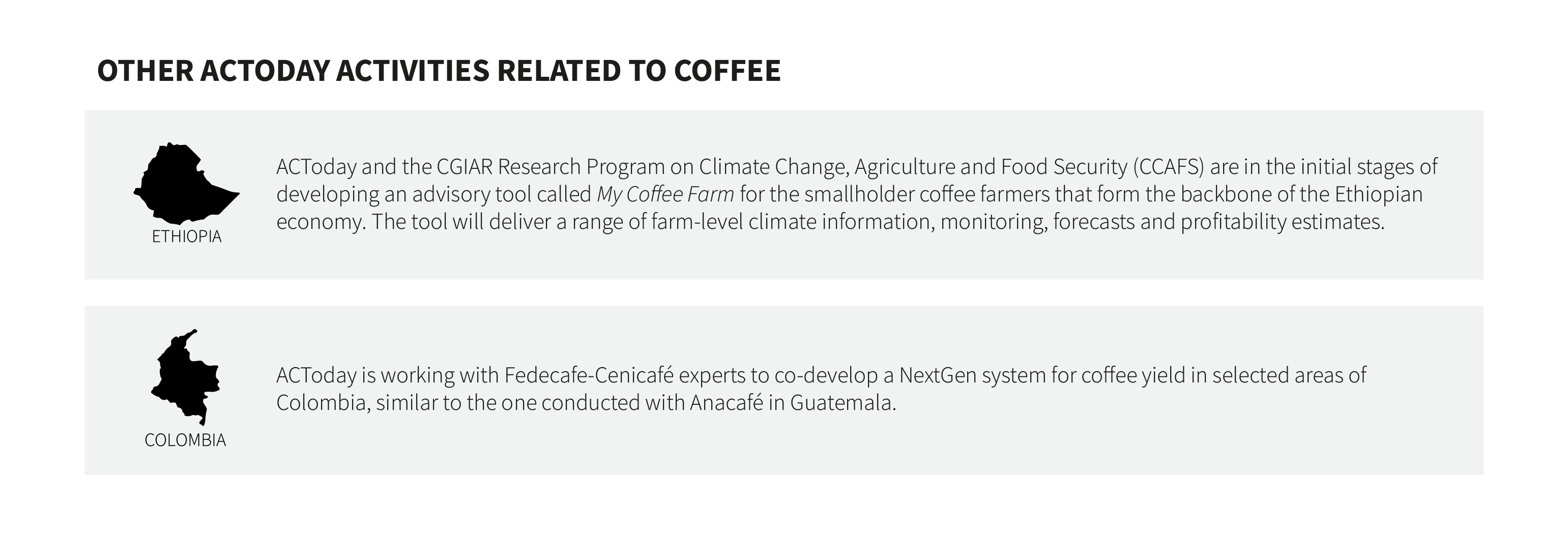 """The headline of the graphic reads """"Other ACToday activities related to coffee."""" Two long grey text boxes are stacked below the headline. In the top box is the black silhouette of the country of Ethiopia and the text """"ACToday and the CGIAR Research Program on Climate Change, Agriculture and Food Security (CCAFS) are in the initial stages of developing an advisory tool called My Coffee Farm for the smallholder coffee farmers that form the backbone of the Ethiopian economy. The tool will deliver a range of farm-level climate information, monitoring, forecasts and profitability estimates."""" In the bottom box is the black silhouette of the country of Colombia and the text """"ACToday is working with Fedecafe-Centicafé to co-develop a NextGen system for coffee yield in selected areas of Colombia, similar to the one conducted with Anacafé in Guatemala."""