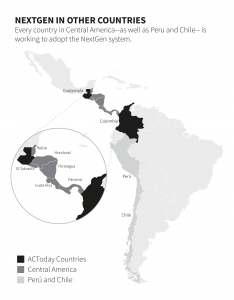 """The headline of the image reads """"NextGen in other countries"""" with the text below it: """"Every country in Central America—as well as Peru and Chile—is working to adopt the NextGen system."""" A map of Central and South America below uses a greyscale key to identify the ACToday Countries (in black: Guatemala and Colombia), Central America (in dark grey: Belize, Honduras, El Salvador, Nicaragua, Costa Rica and Panamá) and (in light grey) Perú and Chile."""
