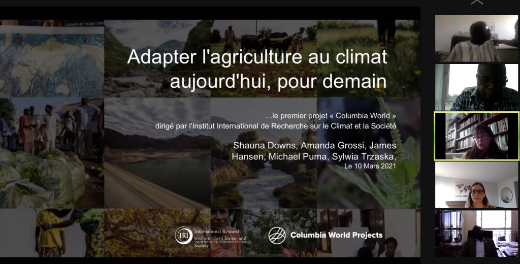 """A screenshot from the March training in which ACToday's Sylwia Trzaska introduces the project to participants. The title of the presentation on the slide is in French. The English translation is """"Adapting Agriculture to Climate Today, for Tomorrow."""" To the right of the slide are the still video captures of Sylwia Trzaska, Shauna Downs, and a few participants of the webinar."""