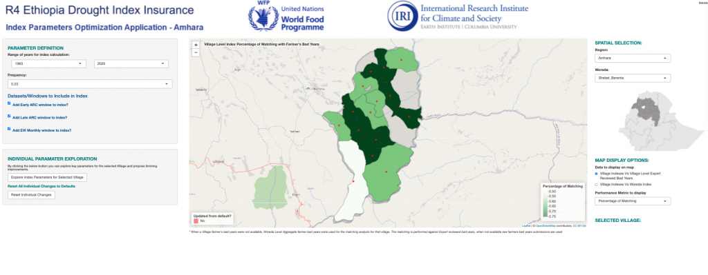 The screenshot shows the R4 Ethiopia Drought Index Insurance maproom interface, which is topped by logos of the World Food Programme and the International Research Insitute for Climate and Society. The active map in the interface is of the Amhara region of Ethiopia, showing different parts of the region highlighted in different shades of green based on the accuracy of the matches between satellite data, farmer experiences and payouts.
