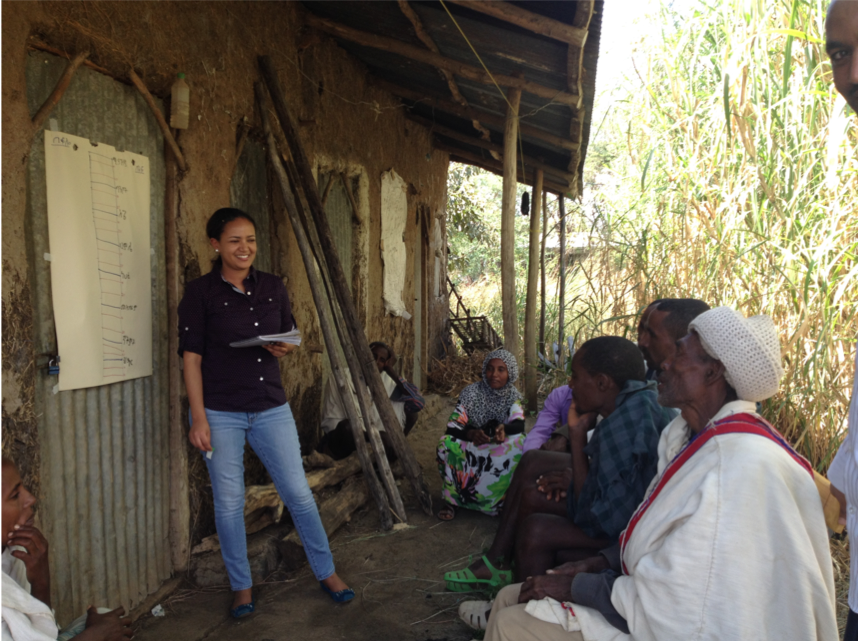 A photo of Rahel Diro standing before a group of Ethiopian farmers in the shade of a house in a village in Amhara with a large sheet of white easel paper taped to the wall.
